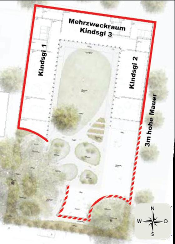Bau der Mauer im Südosten des Kindergartens Siegwaldweg erst bei Bedarf