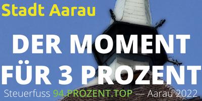 Der Moment für 3 Prozent - Steuerfuss 94% für Aarau