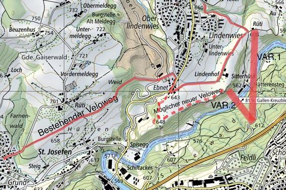 Direkte und sichere Veloverbindung von Engelburg nach St.Gallen.